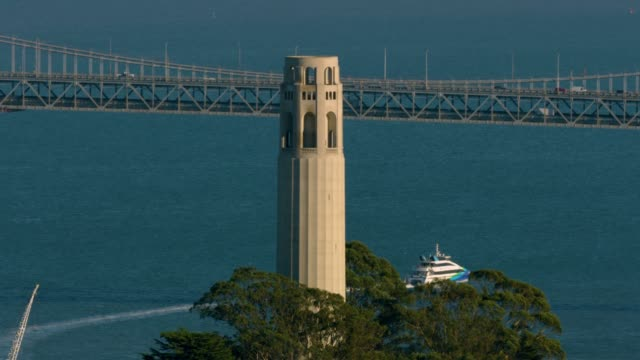 orbital shot of the coit tower - north beach san francisco stock videos and b-roll footage