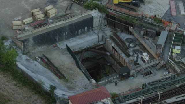 orbital shot of the east side access work site - electrical component stock videos & royalty-free footage
