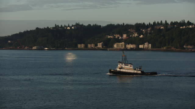 orbital shot of the james t. quigg tugboat sailing across elliott bay - mt rainier stock videos & royalty-free footage