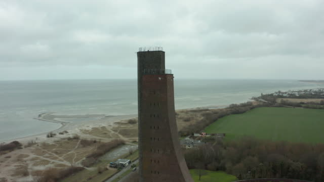 orbital shot of the laboe tower - coastal feature stock videos & royalty-free footage