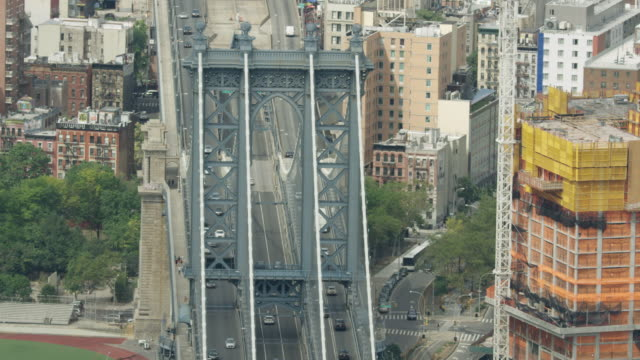 Orbital shot of the Manhattan Bridge