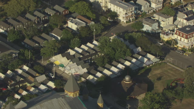 orbital shot of the tent city in ocean grove - pull out camera movement stock videos & royalty-free footage