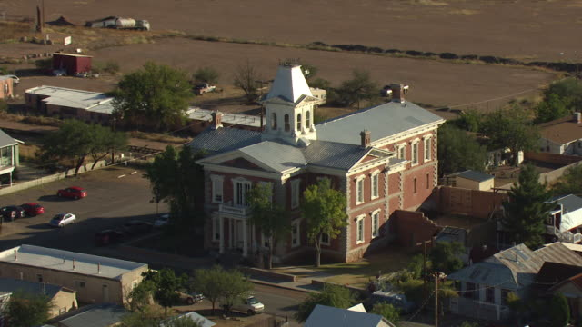 orbital shot of the tombstone courthouse state historic park - tombstone stock videos & royalty-free footage