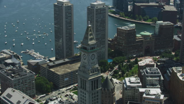 orbital shot of the top of the custom house tower - custom house tower stock videos & royalty-free footage