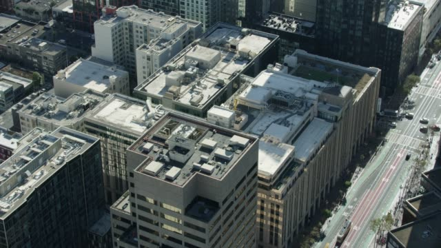 orbital shot of the twitter headquarters building at the market street - online messaging stock videos & royalty-free footage