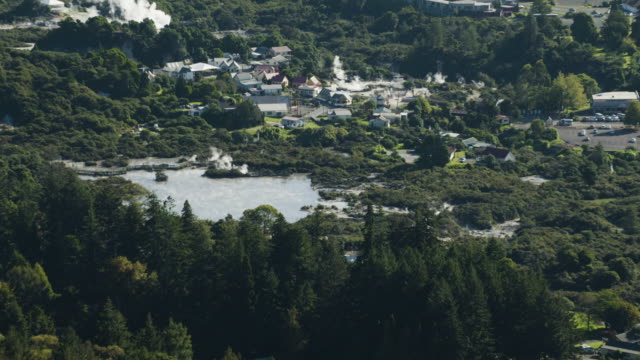 orbital shot of the whakarewarewa thermal valley in rotorua - whakarewarewa stock videos and b-roll footage