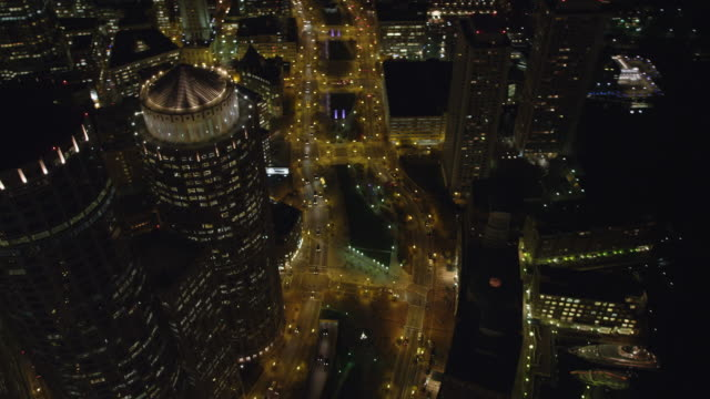Orbiting Boston's Financial District at night, Old Customs House on right as clip ends. Shot in 2011.