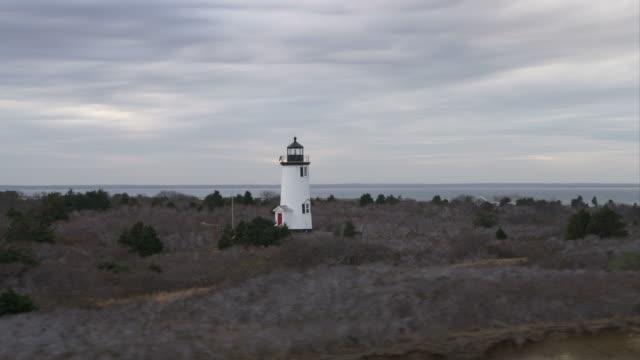 Orbiting Cape Poge Lighthouse on Cape Poge Bay, Massachusetts. Shot in November 2011.
