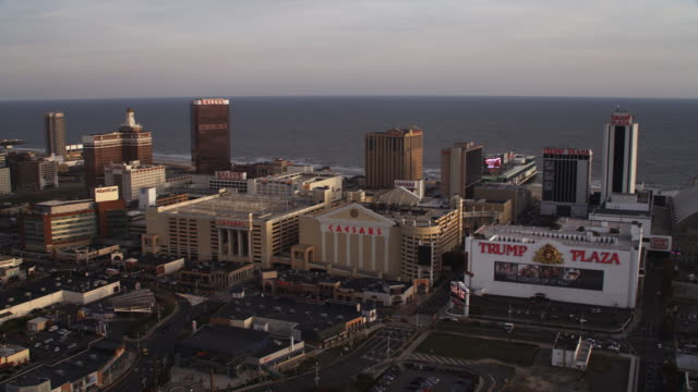 orbiting casino resorts in atlantic city, new jersey, looking seaward. shot in november 2011. - artbeats stock videos & royalty-free footage