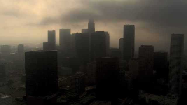 Orbiting downtown Los Angeles on a smoggy, overcast day. Shot in 2008.