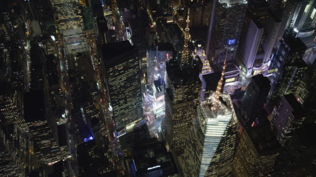 Orbiting glowing Times Square at night. Shot in 2011.