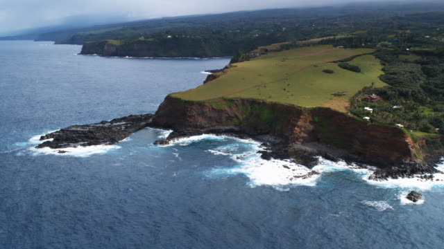 Orbiting green pastureland on sea cliffs along Maui's north shore