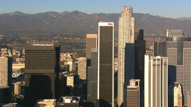 Orbiting Los Angeles financial district . Shot in 2008.
