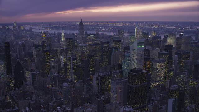 Orbiting Midtown Manhattan at dusk, looking west. Shot in November 2011.