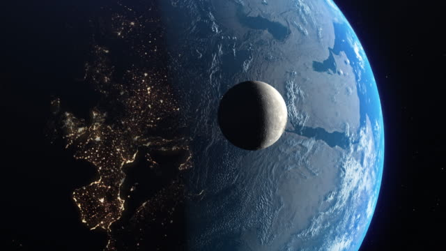 orbiting moon and earth in space - moon stock videos & royalty-free footage