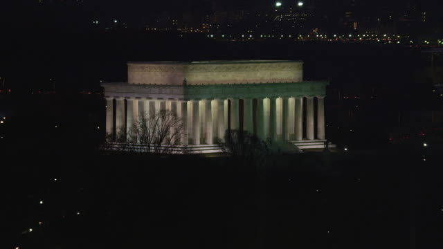 Orbiting the Lincoln Memorial at night, Kennedy Center passing by in background. Shot in 2011.