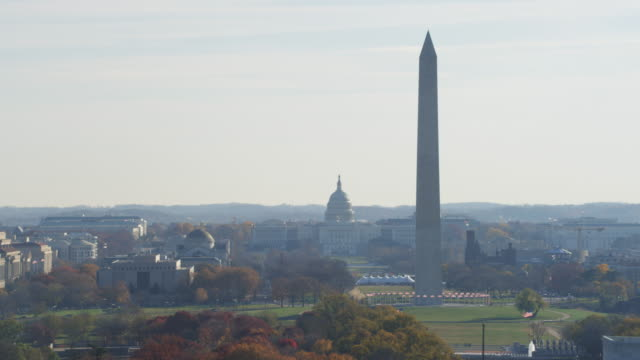 orbiting washington monument with lincoln memorial revealed in foreground, capitol in rear. shot in 2011. - artbeats stock-videos und b-roll-filmmaterial