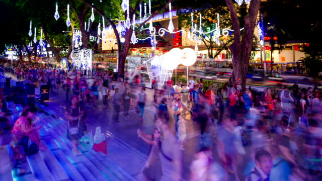 orchard road lighted up for christmas - singapore stock videos & royalty-free footage