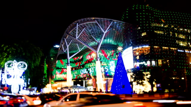 orchard road lighted up for christmas - orchard stock videos and b-roll footage