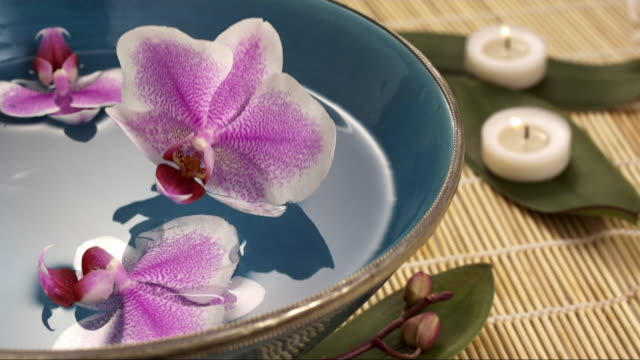 orchid is falling in a wellness bath - petal stock videos & royalty-free footage