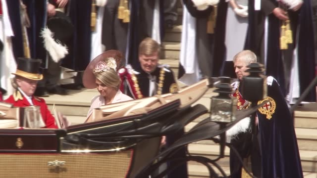 st george's chapel arrivals and departures england berkshire windsor windsor castle king willemalexander of the netherlands and queen maxima of the... - berkshire england stock videos and b-roll footage