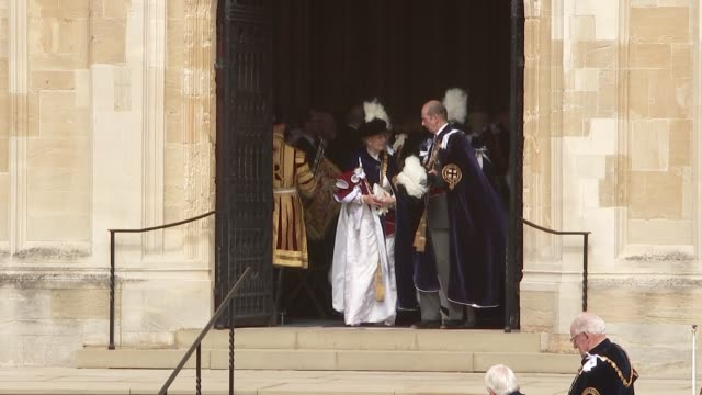 st george's chapel arrivals and departures england berkshire windsor windsor castle gvs prince edward duke of kent leaving / gvs princess anne and... - prince andrew stock videos & royalty-free footage