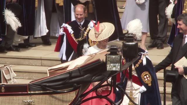 order of the garter ceremony: st george's chapel arrivals and departures; england: berkshire: windsor: windsor castle: anne, princess royal and... - sophie rhys jones, countess of wessex stock videos & royalty-free footage