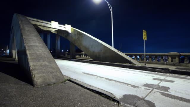 Oregon City Bridge at night, time lapse