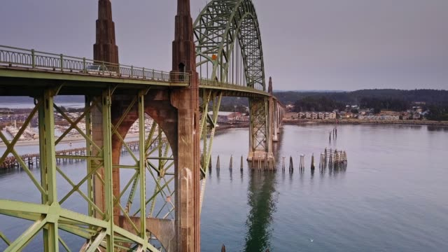 oregon coast highway crossing yaquina bay bridge - aerial view - 1936 stock videos & royalty-free footage