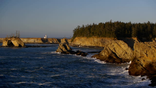 hd oregon coast lighthouse - sunset bay state park stock videos & royalty-free footage