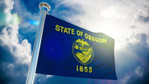 4k - oregon  flag | loopable stock video - oregon us state stock videos & royalty-free footage