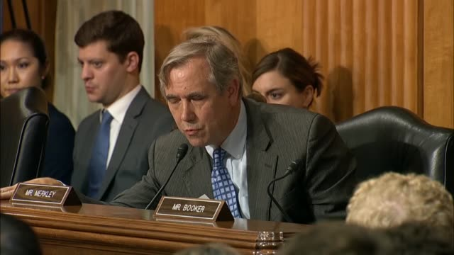 oregon senator jeff merkley asks secretary of state mike pompeo at a senate foreign relations committee about the rohingya crisis in burma and... - oregon us state stock videos & royalty-free footage