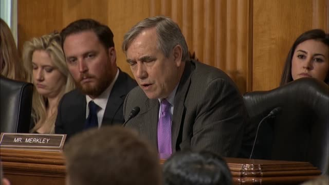 Oregon Senator Jeff Merkley asks Secretary of State Mike Pompeo at a Senate Foreign Relations Committee hearing about his involvement in refueling...