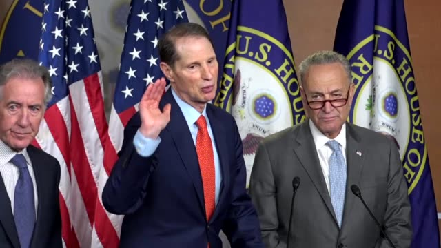 Oregon Senator Ron Wyden answers a reporter question at a news event criticizing Republican tax reform legislation introduced hours earlier that the...