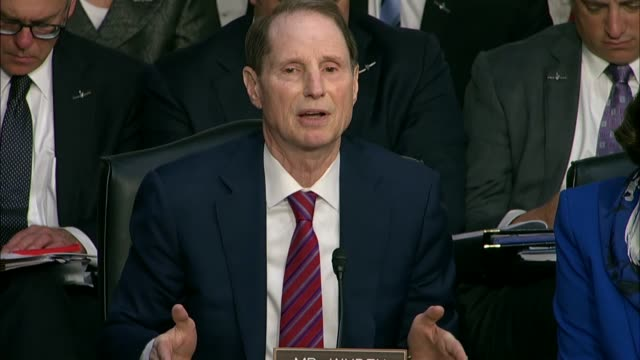 oregon senator ron wyden engages cia director nominee gina haspel at her nomination hearing over work after the september 11 terrorist attacks,... - torture stock videos & royalty-free footage