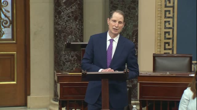 oregon senator ron wyden says in a floor speech days before a special coronavirus unemployment benefit was to expire under the cares act that the... - vermeidung stock-videos und b-roll-filmmaterial