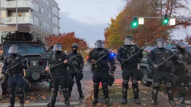 """oregon state police and salem police guard the area during dueling black lives matter and """"stop the steal"""" protests on november 7, 2020 in salem,... - salem oregon stock videos & royalty-free footage"""