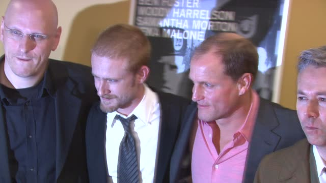 oren moverman ben foster woody harrelson and adam yauch at the 'the messenger' new york premiere at new york ny - woody harrelson stock videos & royalty-free footage