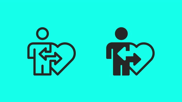 organ donation icons - vector animate - outline stock videos & royalty-free footage