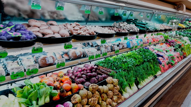 organic produce shelves fully stocked on april 05 in los angeles, california. - raw food stock videos & royalty-free footage