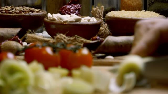 organic raw food in a rustic setting - wood grain stock videos & royalty-free footage