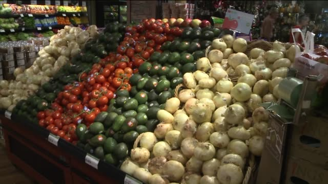 organic vegetables, fruits inside a grocery store on october 23, 2015 in new york city. - organic farm stock videos & royalty-free footage