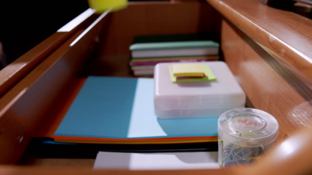 organising stationary in the drawer - drawer stock videos & royalty-free footage