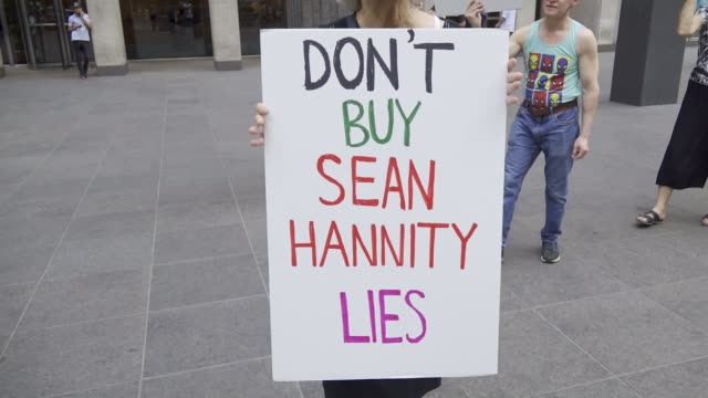 organized by rise and resist nyc. demonstrators rallied in front of the fox news 1211 avenue of the americas building demanding that fox's political... - talk show stock videos & royalty-free footage