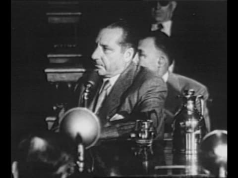ms organized crime boss frank costello appears for testimony at kefauver committee hearings vo sen charles tobey asks costello what he has done for... - punctuation mark stock videos & royalty-free footage