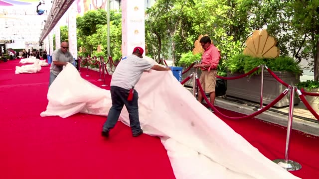 organizers are putting the last touches to the red carpet ahead of the emmy awards ceremony - emmy awards stock-videos und b-roll-filmmaterial