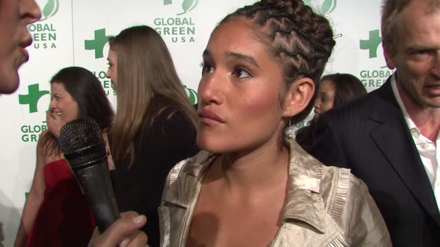 q'orianka kilcher on attending tonight's event at the global green usa's 6th annual preoscar party benefiting green schools at los angeles ca - pre party stock videos and b-roll footage