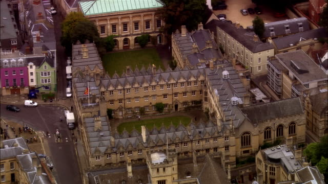 aerial, oriel college, oxford, england - oxford england stock videos & royalty-free footage