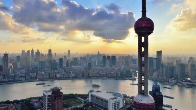 4K: Oriental Pearl Tower and the Bund of Shanghai, China