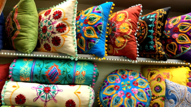 oriental pillows at grand bazaar in istanbul - grand bazaar istanbul stock videos and b-roll footage